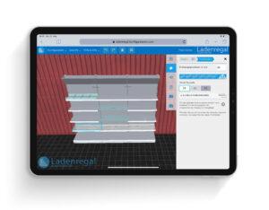 Ladenregalkonfigurator wird auf einem iPad ausgeführt