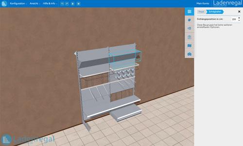 Screenshot des Ladenregalkonfigurators mit neuen Funktionen